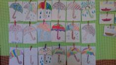 Deštník, uvolňovací cviky- šikmé čáry, kapičky